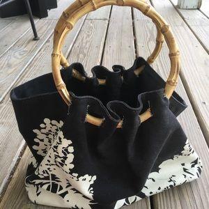 Banana Republic canvas purse with wooden handles
